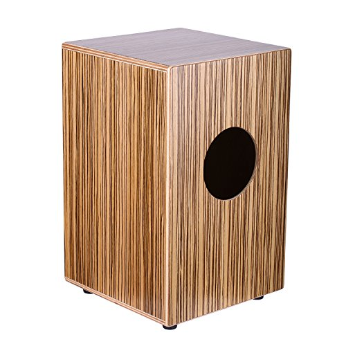 neewerr-percussion-9-x-9-x-14-23-x-23-x-36cm-zebrawood-cajon-with-internal-snares-burlywood-finish