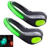 HEAWAA LED Schuh Clip Blink Clip,Wasserdicht LED Lichter Reflektierende, LED Schuh Clip Bike Shoe Schuhclip Lichter Sicherheit Nachtlicht für Laufen, Wandern, Straßentanz (Grun)