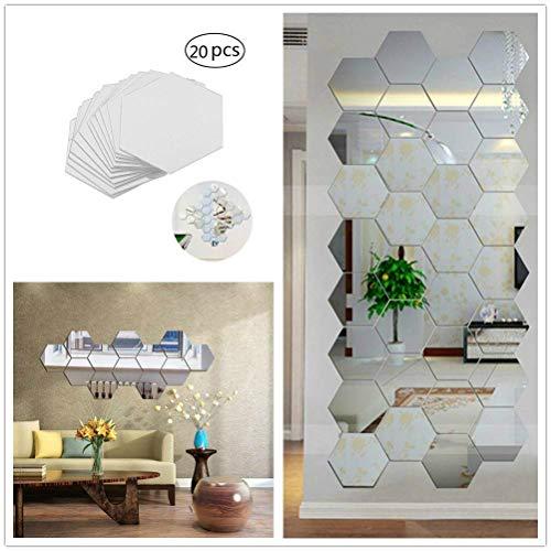 Xinqin Ding Spiegelfliesen Selbstklebend Wandtattoo, 20 Stück Hexagon Spiegel Wandspiegel zum Wanddekoration für Wohnzimmer,Umkleidekabine,Badezimmer Dekoration Silber