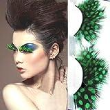 IGEMY Women Fancy Soft Long Feather False Eyelashes Eye Lashes Makeup Party Club (Green)