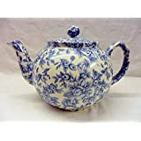2 cup teapot in blue blossom chintz design by Heron Cross Pottery.