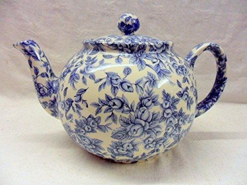 Special Offer 2 Cup Teapot In Blue Blossom Chintz Design By Heron Cross Pottery.