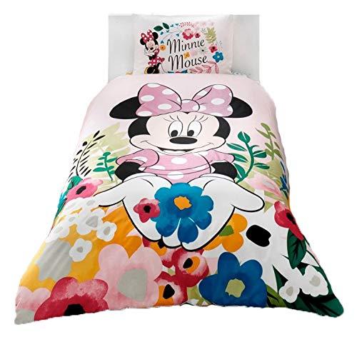 wellstil Minnie Mouse Glitzer-Bettwäsche-Set für Mädchen, 100% Baumwolle, für Einzelbetten und Doppelbetten (Mickey-mouse-twin Bettwäsche)