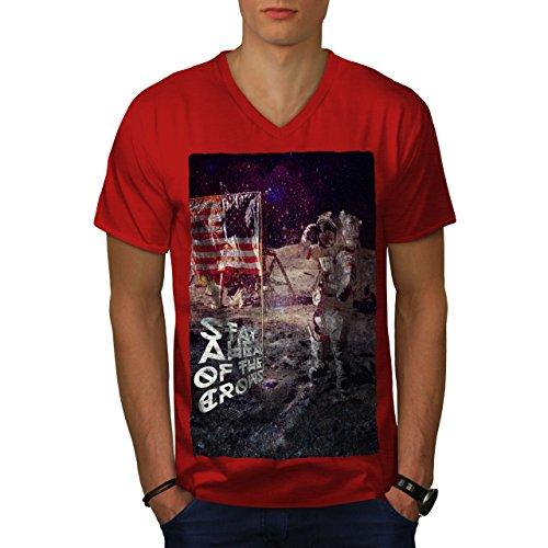 wellcoda Apollo Galaxis MännerV-Ausschnitt T-Shirt Galaxis Grafikdesign-T-Stück