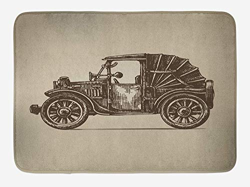 NasNew Cars Bath Mat, Classic Retro Car Design Early Prototypes of Automobile Semi Convertible Old School, Plush Bathroom Decor Mat with Non Slip Backing, 31.69 X 19.88 Inches, Beige Sepia Semi Round Step