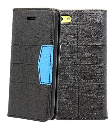nwnk13Magnetverschluss® iPhone 5C Buch mit Gel Rahmen Premium Leder Flip Case Cover plus Displayschutzfolie und Reinigungstuch, schwarzblau, M