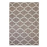 Outdoor-Teppich Flachgewebe Modern mit Marokkanischen Muster in Beige für Außen/Innengewebe Größe 80/150 cm