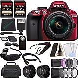 Nikon D3300 DSLR Camera with 18-55mm AF-P DX Lens (Red) + Sony 64GB
