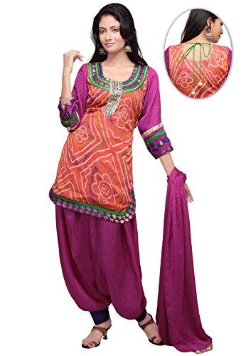 Utsav Fashion Bandhani Printed Crepe Punjabi Suit in Light Orange Colour