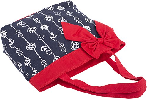 Küstenluder MILEY Sailor ANCHOR Rope Nautical Bow TASCHE Shopper Rockabilly Dunkelblau mit weißem, maritimen Muster
