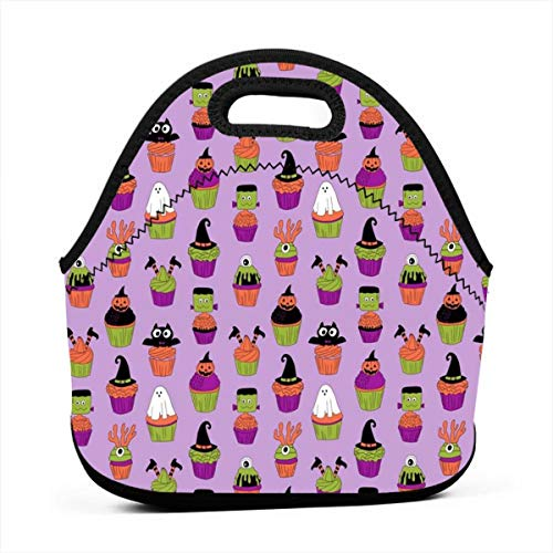 Portable Bento Lunch Bag,Halloween Cupcakes Fabric Cupcakes, Food, Sweets, Cute, Halloween, Ghost, Witch, Frankenstein - Purple for Kids Adult Thermal Insulated Tote Bags (Cute Food For Kids Halloween)