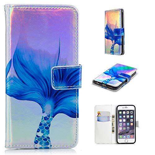 ür iPhone 8 (4.7 Zoll),PU Leder Klapphülle Laser Blau Meerjungfrau Muster Handyhülle Brieftasche Schale Etui für iPhone 7/8 (4.7 Zoll),Blau Meerjungfrau ()