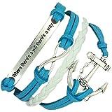 (B19) Vintage Handmade Infinity 8 Anchor Statement Leather Bracelet Wristband including gift box by Boolavard TM
