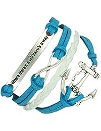 BOOLAVARD (B19) Vintage main Infinity 8 Anchor Déclaration Bracelet en cuir Bracelet y compris la boîte-cadeau par