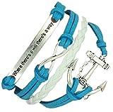 Boolavard TM (B19) Vintage Handmade Infinity 8 Anchor Dichiarazione di Cuoio del Wristband del Braccialetto Compresa Confezione Regalo