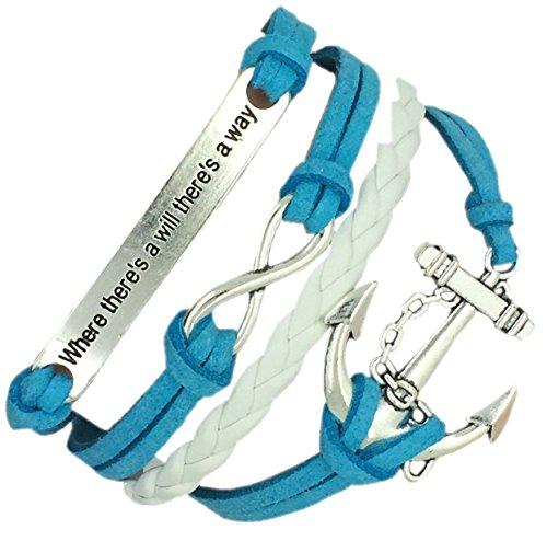 (B19) Vintage Handmade Infinity 8 Anchor Dichiarazione di cuoio del Wristband del braccialetto compresa confezione regalo da Boolavard® TM
