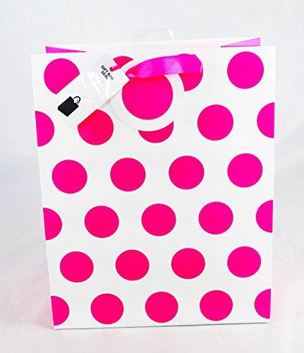 NEON PINK POLKA DOT Spot Große Geschenktasche Damen Mädchen Geburtstag Cool Sie (Spot-bogen)