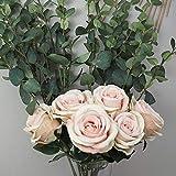 Decoration & Design Kunstblumenstrauß zur Dekoration aus Hochwertiger Seide - rosafarbene Rosen und Eukalyptus Zweige