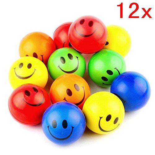 Gesicht Stress Bälle Emoji Bouncy Stress Relief Balls Spielzeug klein Schwamm Ball zum Erwachsen Geburtstag Geschenk Kinder Party Gastgeschenk (Smiley-bälle)