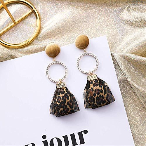 Korean Retro Pink Leopard Ribbon Runde Lange Ohrringe Samtknopf Ohrringe Für Mädchen Frauen Schmuck3 (Ware Pink Ribbon)