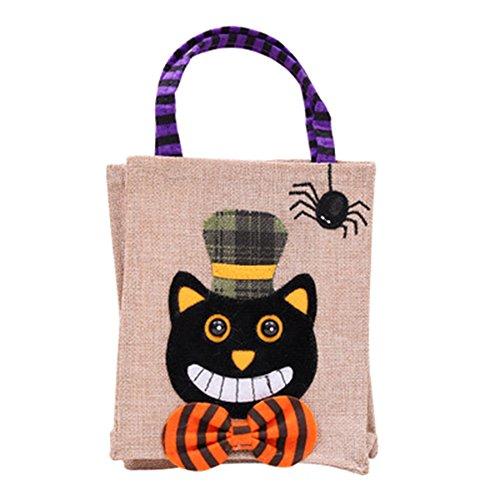 Hosaire 1x DIY Handtasche Süßigkeiten Tasche Kinder Süßigkeiten Tasche Halloween Party für Lustige Geschenke 26 * 15cm Schwarze Katze