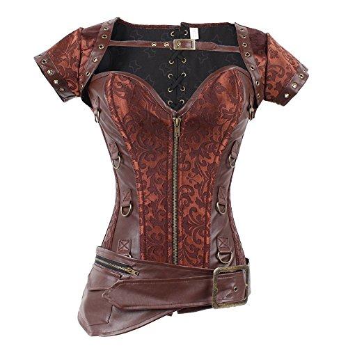 FeelinGirl Damen Korsett mit Stahlstäbchen - Brokatmuster - Retro/Gothic/Steampunk-Stahl ohne Knochen, Rot 1, XXL(EU 42) (Bustier Rotes Halloween)