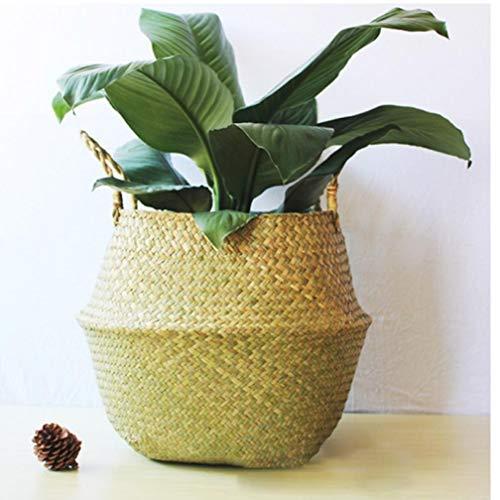 Oulensy Haushalt Faltbare Natur Seegras Woven Speichertopf Garten-Blumen-Vase hängender Korb mit Griff Lagerung aufgeblähter Stroh-Korb A1 -