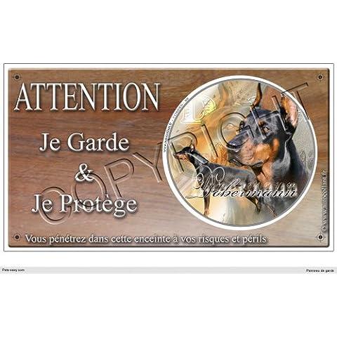 Pets-Easy - Placa para advertir sobre perro guardián (en francés), diseño de dóberman
