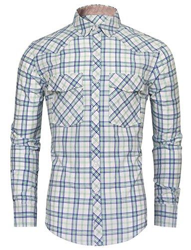HRYfashion -  Camicia classiche  - Camicia  - A quadri - Maniche lunghe  - Uomo Verde