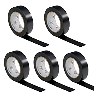 5 rolls VDE Electrical Tape Insulating Tape PVC 15mm x 10 m DIN EN 60454-3-1 colour: black