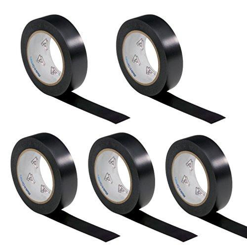 5 Rollen VDE Isolierband Isoband Elektriker Klebeband PVC 15mm x 10m DIN EN 60454-3-1 Farbe: schwarz (Schwarze Kabelbinder Weich)