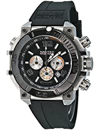 Nautec No Limit UO QZ/RBSTIPBK-OR - Reloj cronógrafo de cuarzo para hombre con correa de caucho, color negro