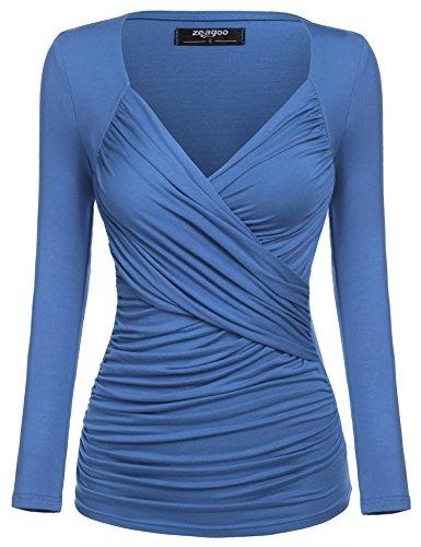 2b2ecf970b21 Zum Angebot · Zeagoo Damen V-Ausschnitt Langarmshirt Tunika Bluse Obertail T -Shirt mit Rüschen