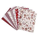 Lot de 10pcs 45 x 45cm Tissu en Coton pour DIY Artisanat Couture - Série Rouge