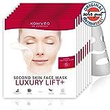 """Premium Tuchmasken Luxury Lift+ mit Dermatest-Note """"Sehr Gut"""". Pflegende Anti-Aging-Falten Gesicht Sheet Vlies Masken von Konivéo. 100% ohne Parabene & Alkohol (8 x 1 Stück Maxi Spar Set)"""