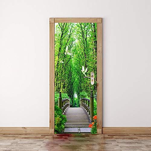 Taube-stick (HUZHUANG Türaufkleber Wasserdichte 3D Kreative Selbstklebende Papier Dekoration Schlafzimmer Wohnzimmer Wandaufkleber Tür Stick Holz Taube 77x200cm)