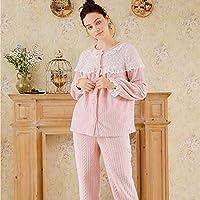 YTNGA Pijamas De Mujer Pijamas de Invierno Pijamas de Mujer Otoño Ropa de Dormir Gruesa Ropa decasaRopa demanga Larga Pijamas Suaves, Rosa, L