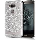 kwmobile Funda para Huawei G8 / GX8 - Case plástico para móvil - Cover trasero Diseño flor en blanco transparente