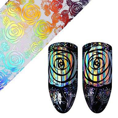 Holographische Rose Nail Folie Laser Starry Floral pattern Transfer Sticker Maniküre -