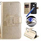 Huawei P8 Lite 2017 Strap Leather Case,Huawei P8 Lite 2017 Wallet Case,Etsue Cute Funny Pressed Panda Design Folio Magnetic Strap Bookstyle Leather Wallet Case Cover with Soft Inner and Card Slots for Huawei P8 Lite 2017+Blue Stylus Pen+Bling Glitter Diamond Dust Plug(Colors Random)-Panda,Gold