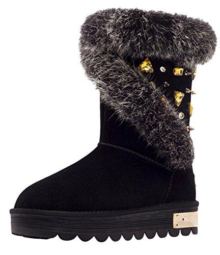 BUYINIAO Bottes femme Bottes de neige Boots de cuir hiverr Noir