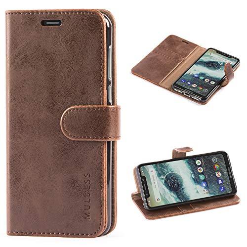 Mulbess Handyhülle für Motorola One Hülle, Leder Flip Case Schutzhülle für Motorola One Tasche, Vintage Braun