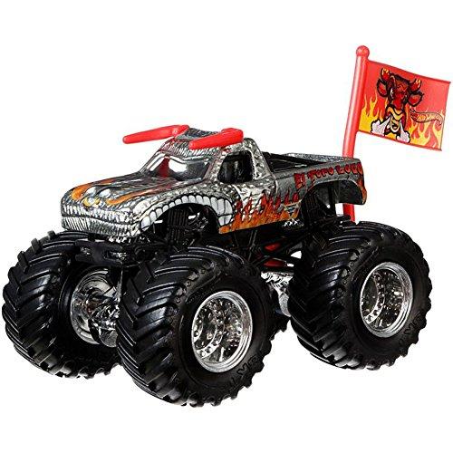 Unbekannt Hot Wheels Monster Jam Monster-Truck mit Team Flagge (EL Toro Loco Silber)