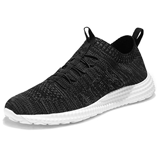 KALEIDO Men's Lightweight Gym Walking Cross-Training Fitness Sports Running Shoes (46, F-Black)
