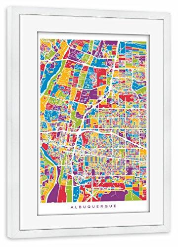 Albuquerque New Mexico Street (artboxONE Poster mit Rahmen Weiß 45x30 cm Albuquerque New Mexico City Street Map von Michael Tompsett)