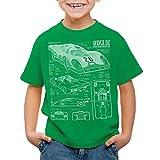 style3 917K Blaupause Kinder T-Shirt Le Mans, Farbe:Grün;Größe:104