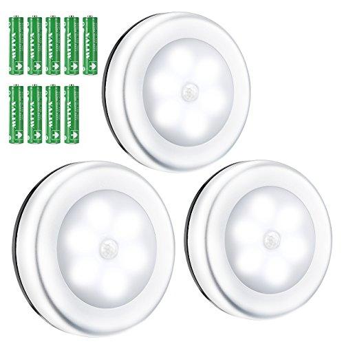 Omorc luce notturna luce led sensore movimento senza fili magnete wireless 9 batterie incluse luce interno per armadio cucina scale corridoio camera da letto bagno garage. luce fredda