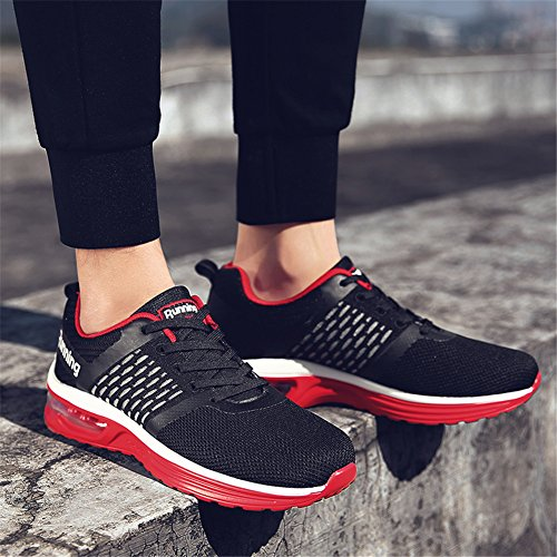 TORISKY Homme Femme Baskets Sneakers Chaussures de Course Sports Athlétique Casual Fitness Gym Running Shoes Rouge