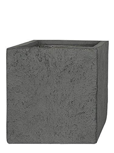 PFLANZWERK® Pflanzkübel Fiberglas CUBE Lava Grey 38x44x44cm XXL *Frostbeständig* *UV-Schutz* *Qualitätsware*