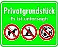 Schild Alu Privatgrundstück Es ist untersagt: + 3 Verbotskennzeichen 350x450mm
